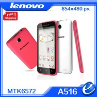 Original Lenovo A516 white pink women phone MTK6572 Dual Core 4.5 inch Mobile Phone Android 4.2 GPS Dual SIM Russian Language