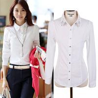 2014 Korean Hitz Large Size Women Blouse Shirt Rhinestone Female Long-sleeved White Shirt OL Wear Lady Shirts Women Work Wear