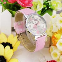Free Shipping! Wholesale1pc Pink Hot Sale Leather Hello Kitty Watch Children Girl Dress Fashion Crystal Wrist Watch, KT25-PK