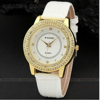 Classic fashion PU Band white dial with  Ms. quartz watches