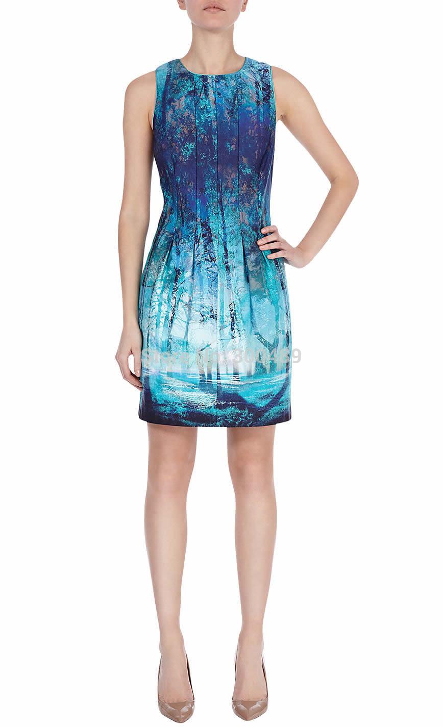 Fashion Print Women Macie Dress Elegant Draped Party Dresses 1487(China (Mainland))