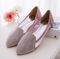 2014 Europe and American Transparently breathable mesh diamond tip flat shoes anti-skid shallow single shoes for women's