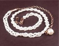 Free shipping Korean imitation pearl women skinny belt metal tassel thin lady chain belts new fashion girl dress joker straps