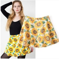 2014 New Fashion Women's Brand Design Sunflowers Print Short Skirt A-line skirts SML