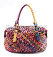 2014 Women Genuine Leather Patchwork Handbags Quilted Tote Genuine Leather Bag Women 100% Genuine Cowhide Leather Handbags B-276
