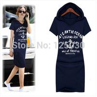 Free shipping 1pcs2014 new large size women's summer Korean printing Slim thin dark blue flowers gray short-sleeved dress