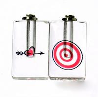 "Free ship! 100pcs/lot ""Cupid's arrow"" pattern oil perfume pendant vial bottle  rice art pendant screw cap"