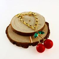 LAROSS Hot Style Woman Sweet Cherry Cute Bracelets Trend All-match Chain&Link Bracelets,Free Shipping