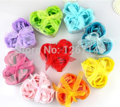 Hotsale 3 pcs perfumado banho corpo flor sabonete Rose Petal na caixa coração Favor do casamento 3Bv2(China (Mainland))