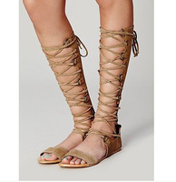 New Women Ladies Cut-Out Genuine Leather Sandal  Lace Up Gladiator Summer boots Cage Mid Calf Jeffery Flat Sandals
