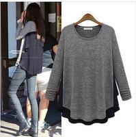 2014 New Women Freeshipping Tassel Long Cotton Casual Thickening Chiffon Patchwork O-neck Long-sleeve T-shirt Basic Shirt Top