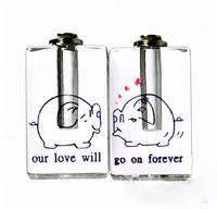 """Free ship! 100pcs/lot """"kiss pig"""" pattern oil perfume pendant vial bottle  rice art pendant screw cap"""