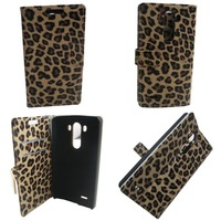 Leather case Leopard Holder Wallet Stand Case Cover for LG G3 Phone case for G3