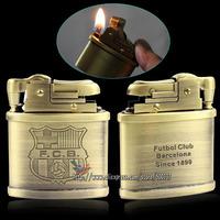 Vintage FC Barcelona Football Team Mark Pattern Cigarette Cigar Classic Petrol Kerosene Oil Pocket Lighter