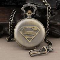 PQ088 Best Gift Men Vintage Bronze Superman Antique Necklace Quartz Pocket Watch + Chain