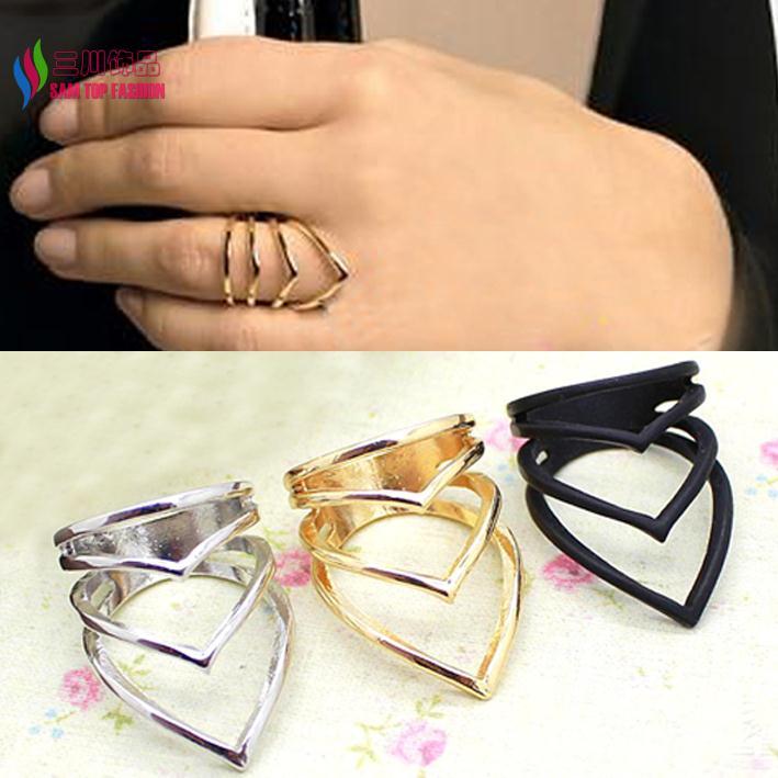 "2014 latest Fashion Gold Silver Black Alloy Designer Brand Multi ""V"" Shape women's metal finger ring bague Bioux(China (Mainland))"
