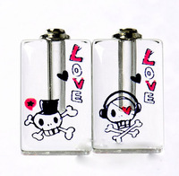 "Free ship! 100pcs/lot ""love"" skull oil perfume pendant vial bottle  rice art pendant screw cap"