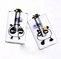 """Free ship! 100pcs/lot """"panda"""" pattern oil perfume pendant vial bottle  rice art pendant screw cap"""