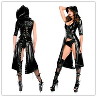 2015 New Arrival Gothic Punk Wetlook Sweet Pea Hooded Coat Latex Pvc Gown Dress Costume  Free Drop Shipping + Fast Delivery