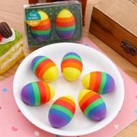BF050 Hot stationery eggs cartoon cute pencil eraser colorful eraser student eraser 4.2*3cm 2pcs/set free shipping