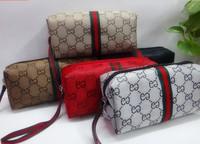 3 pcs/lot canvas Brand Make Up bag Cosmetic Bag Small wristlet bag organize zipper handbag Free Shipping