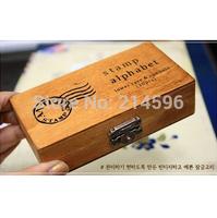 Wholesale 30 pcs/set NEW uppercase & lowercase Wood stamp Set/Wooden Box/Multi-purpose DIY funny work Freeshipping