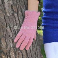 2014Winter Fashion Designer Cuff Knitted Wool Gloves Women Thermal Gloves