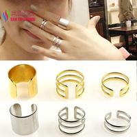 2014 new arrival fashion hot designer matt gold silver alloy cutout cuff finger rings set for women bagues bijoux anillos