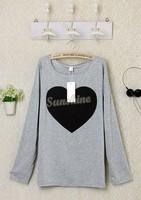 2014 Fashion Women Cotton Blends Love Heart Printed Round Neck Long Sleeve T-shirt Tops Shirt Tees DropShipping b11 SV001508