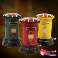 Multicolour vintage pillar-box hand crank music box bell reminisced music box british style mailbox musica gifts