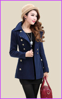 new 2014 spring and autumn women coats  fashion vintage double breasted medium-long wool coat woolen outerwear female