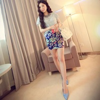 A class of trees [ Popularity ] H604B-6590 explosion models Korean retro flower good quality package hip skirt skirts