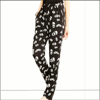 2014 New Fashion  Plus SIZE Women Casual Skull Printed Harem Pants Casual Pants Big Size TSP1285