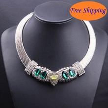 2 Colors New 2014 Fine Jewlery Owl Emerald Torques Clavicle Brand Necklaces & Pendants Jewelery Women Gemstone Jewelry N4064
