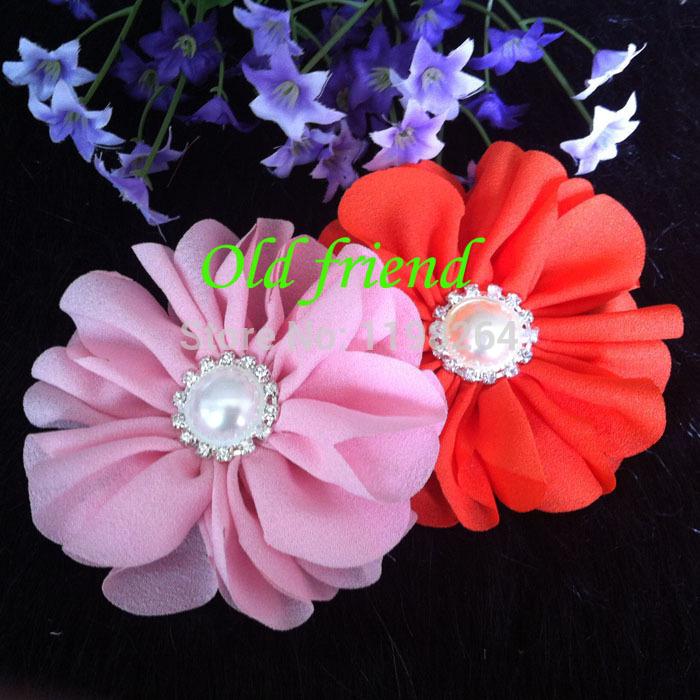 "3.2"" Thick Chiffon Blossom Flowers With Rhinestone Button For Headbands Dress Free Shipping 80/lot(China (Mainland))"