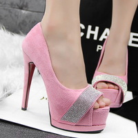2014 women's shoes open toe shoe ultra high heels fashion brief 46cm platform thin heels high-heeled shoes black women's pumps