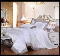 White Lace Jacquard Tribute Silk Comforter Cover queen king 4pcs princess duvet cover bed linen bedclothes bedding sets luxury