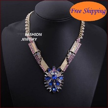 New 2014 Fashion Fine Jewlery Big Crystal Blue Gemstone Drill Chunky Chain Necklaces & Pendants Women Jewelry High Quality N4066