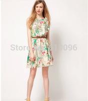 2014 hot sale new style  chiffon floral sleeveless dress with belt fashion dress free shipping