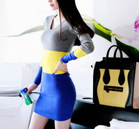 new spring 2014 Long Sleeve Dresses Women casual dress Slim Sexy women clothing winter patchwork sweater vintage dress