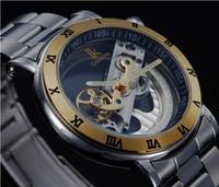 NEW 2014 Luxury Brand IK Gold Stainless Steel Automatic Hollow Mechanical Watch Men Skeleton Full Steel Watch
