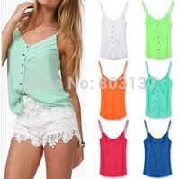 Fashion Summer New 2014 Women Clothing Camisole Tank Vest t shirt Casual Shirts Chiffon Tops Blouse Tee Hot Sale Drop Ship T-337