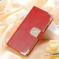 Shining Crystal Wallet Bling Leather Case for Samsung Galaxy S4 i9500 Free Shipping