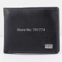 High Quality Men's Gentlemen Black Cowhide Bifold Credit ID Card Slot Zipper Pocket Standard Purse Real Genuine Leather Wallet