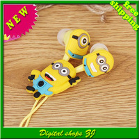 wholesale New 2014 Despicable Me Minions headset Style 3.5 mm headphone Headphones Earphones for iphone Samsung Free shipping
