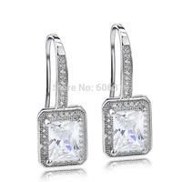 GNE0947 High quality 925 Sterling silver Jewelry Dangle Earrings 25.5*9.8mm Free shipping Fashion Zircon Earrings for Women