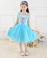 New 2014 frozen dress girl, long sleeve summer dress for girls, Wu Children Clothing 5pcs/lot wholesale Free Shipping