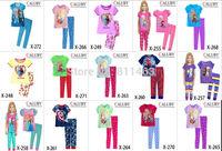 Retail / new 2014 girls  frozen  Elsa & Anna princess clothing sets  / baby boys spider clothes sets / kids summer clothes sets