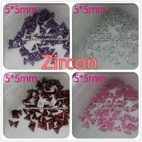 5mm*5mm zircon wholesale nail art rhinestones colorful crystal nail bow 40pcs/lot  mix 4 colors epacket shipping free
