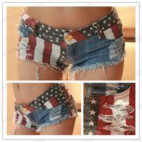 Sexy  Ladies Denim Low Waist Shorts Stars Stripes Hot Shorts American Flag Style Mini Shorts Jeans Hot Pants NEW